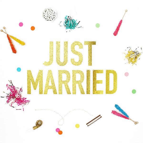 JUST MARRIED Glitter Banner