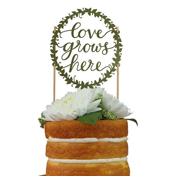 Love Grows Here Paper Cake Topper