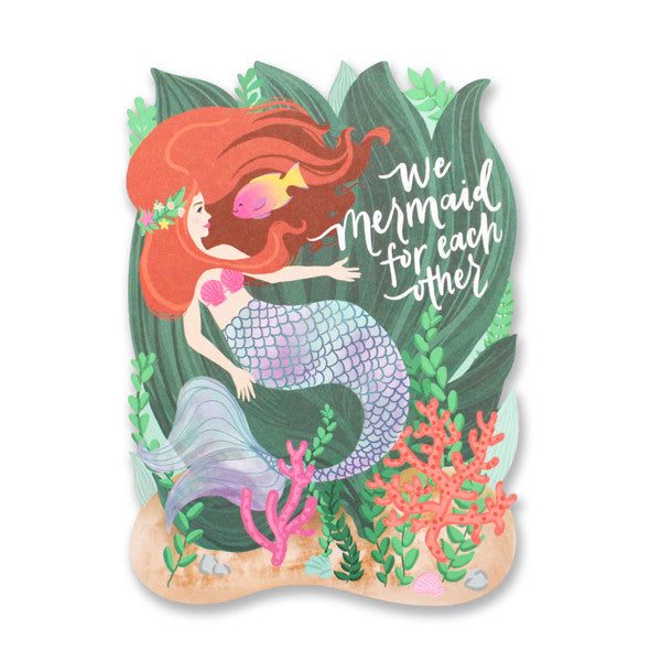 Mermaid For Each Other Die Cut Card