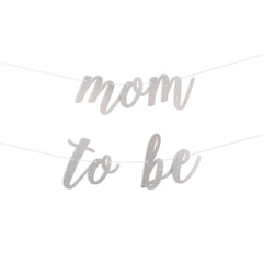 Mom To Be Script Glitter Banner