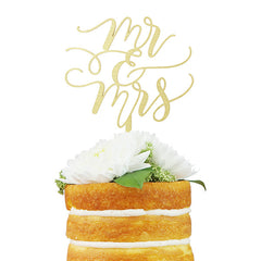 Mr & Mrs Flourish Cake Topper