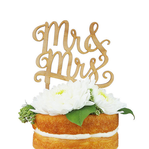 Mr & Mrs Cherry Wood Cake Topper