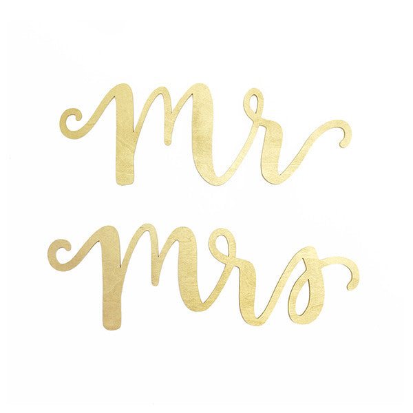 Mr & Mrs Gold Wood Chair Signs