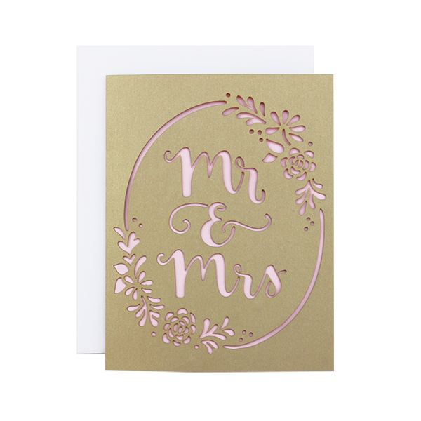 Mr & Mrs Wreath Laser Cut Card