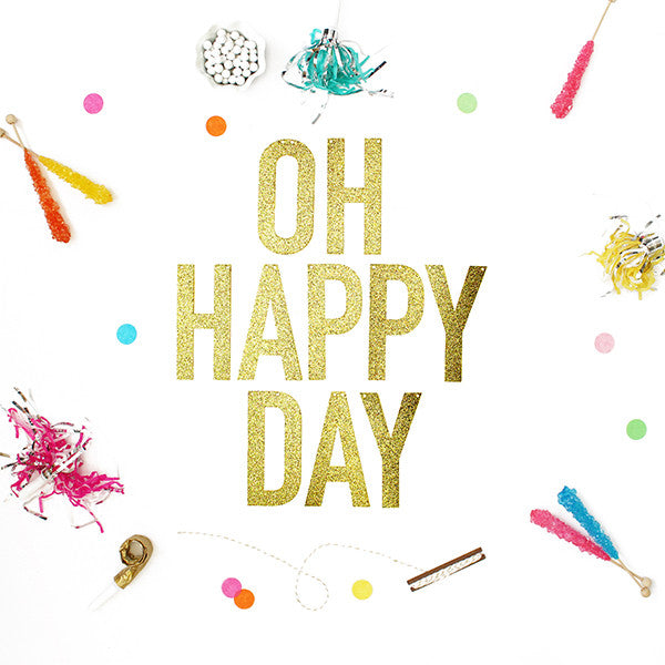Oh Happy Day Glitter Banner