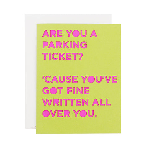 Parking Ticket Pickup Line Laser Cut Card