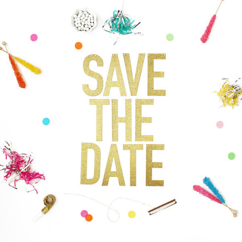 SAVE THE DATE Glitter Banner