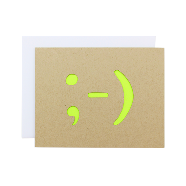 Winky Face Laser Cut Card