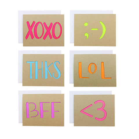 Texting Laser Cut Card Set