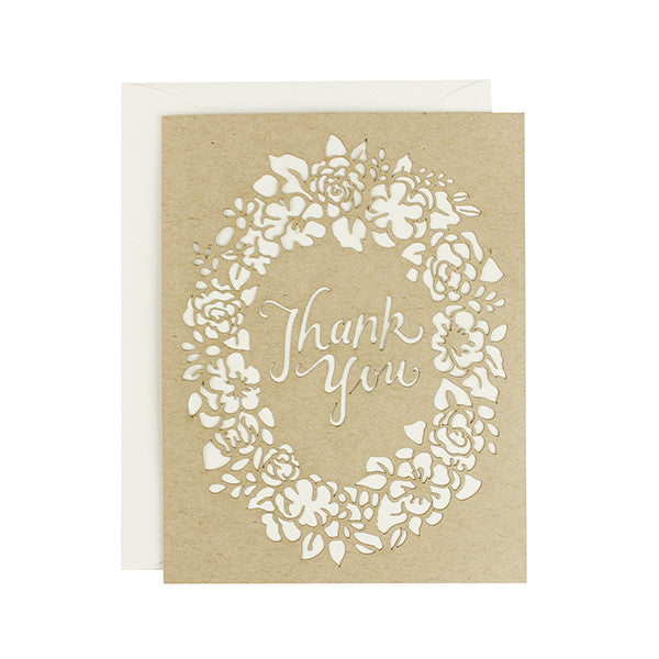 Thank You Floral Laser Cut Card