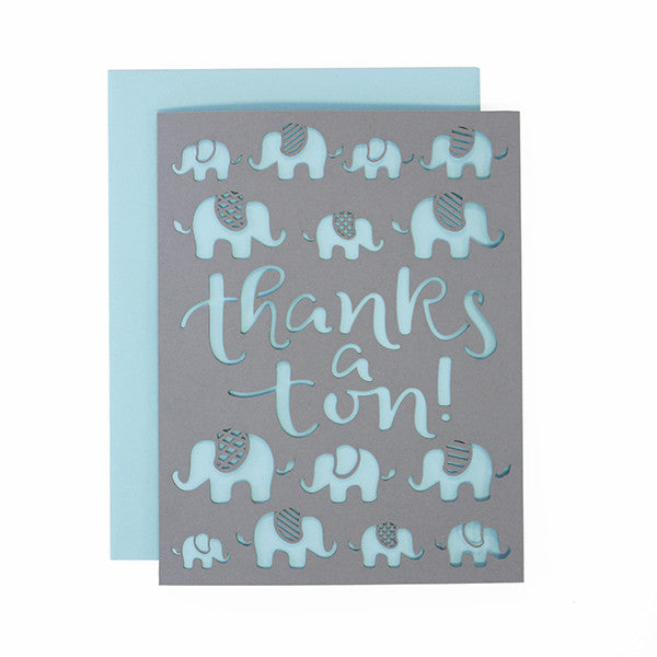 Thanks Elephants Laser Cut Card