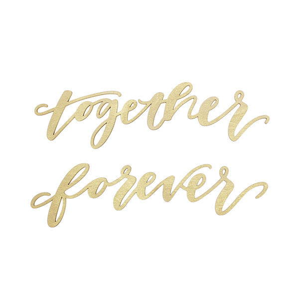 Together Forever Gold Wood Chair Signs