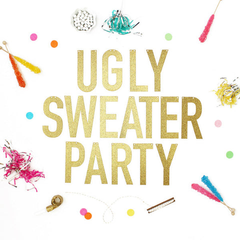 UGLY SWEATER PARTY Glitter Banner