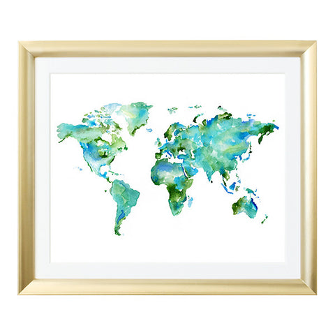 World Map Watercolor Art Print in Green
