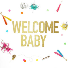 Welcome Baby Glitter Banner