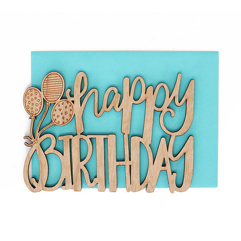 Birthday Balloons Thick Wood Card