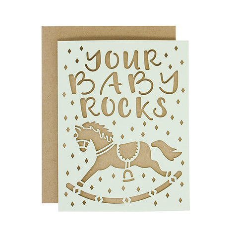 Your Baby Rocks Laser Cut Card
