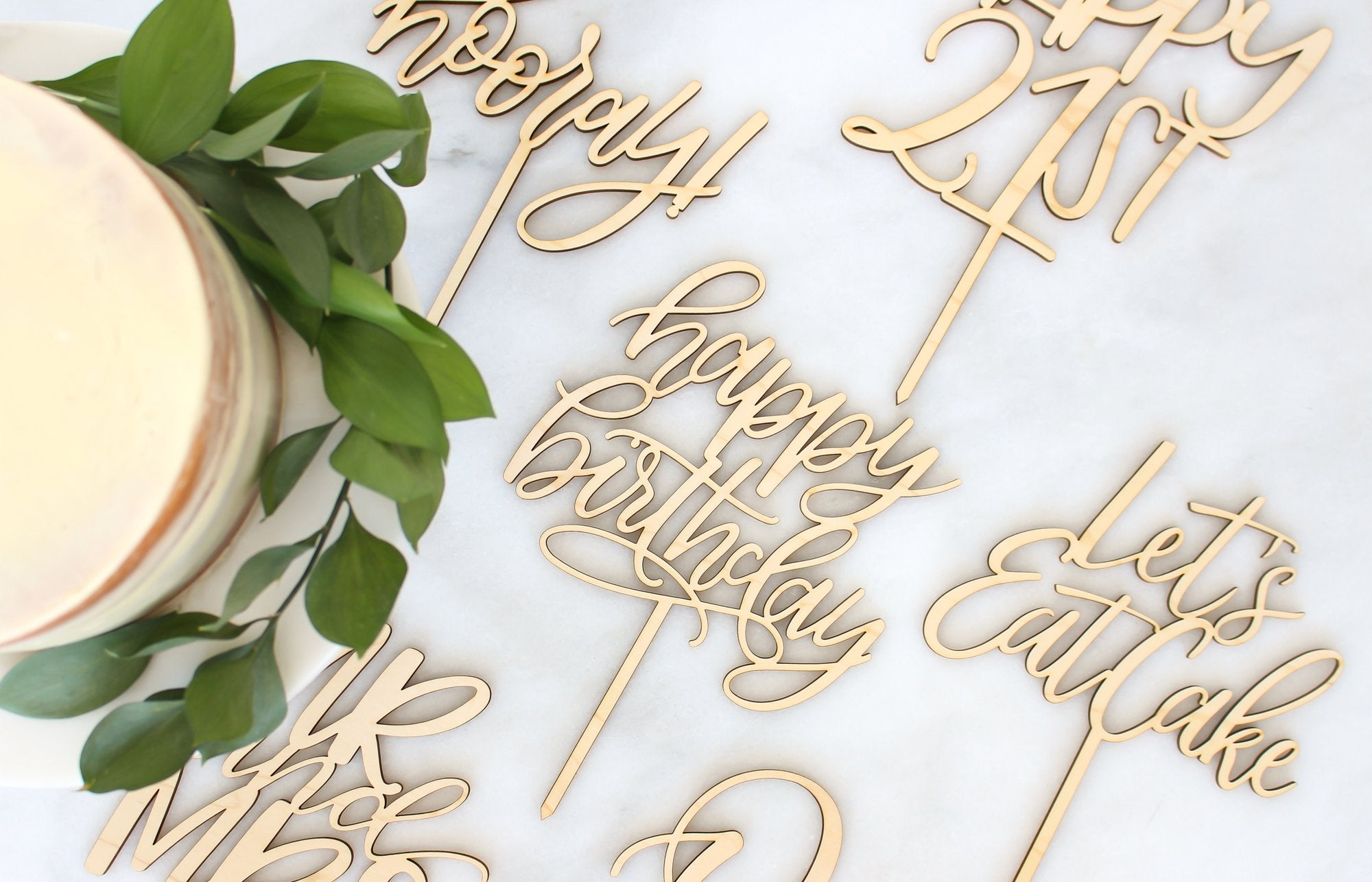 Natural Wood cake toppers perfect for wedding, party, birthdays