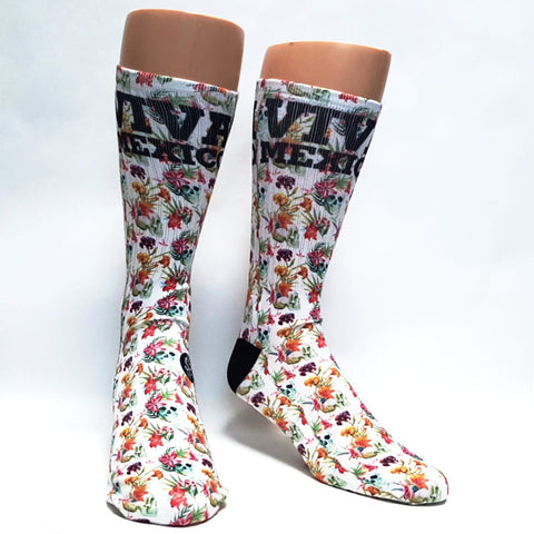 Sugar Skull Flower Socks