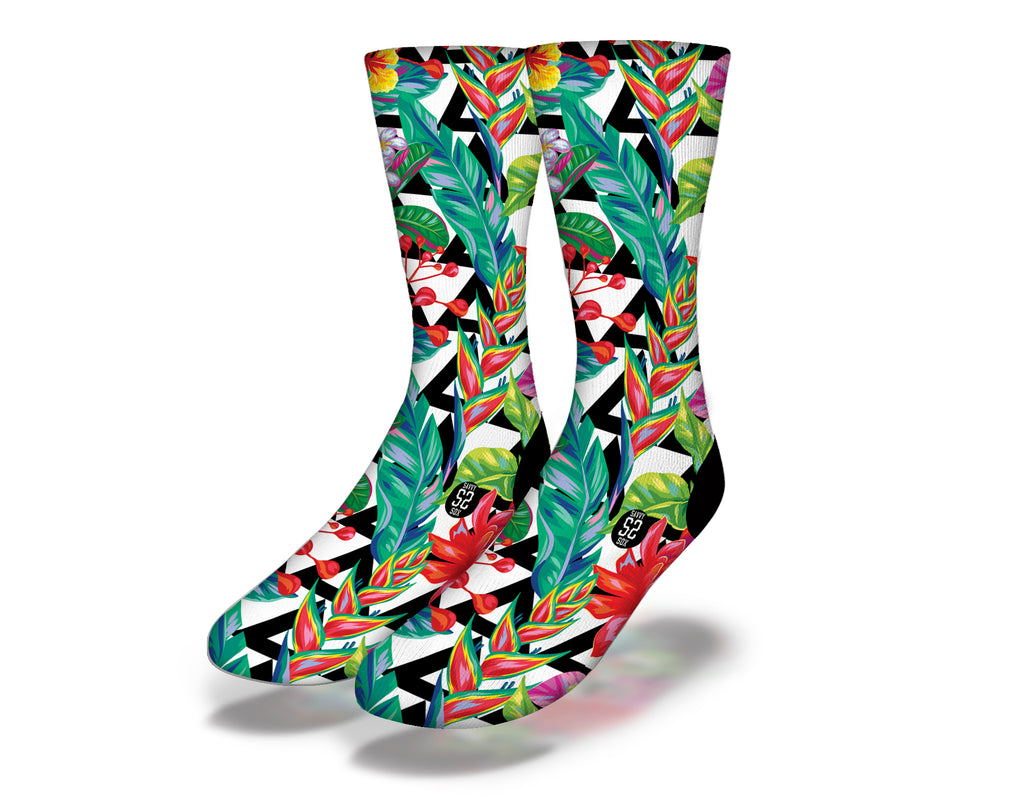 Hawaiian Flowers Theme 6 Socks