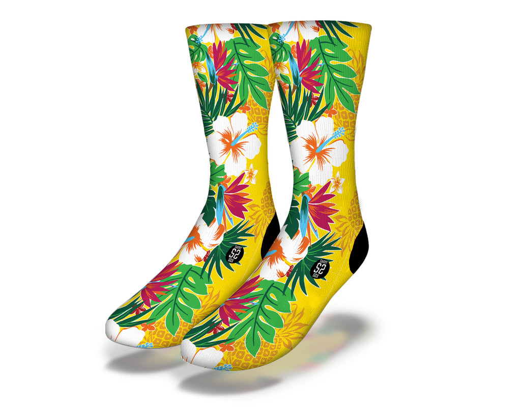 Hawaiian Flowers Theme 8 Socks