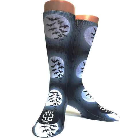 Full Moon and Bats Halloween Socks - SavvySox - 1