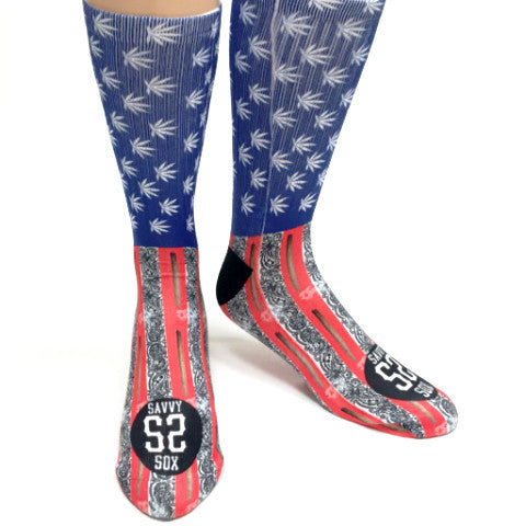 Cannabis Mary Jane Flag Socks - SavvySox - 1