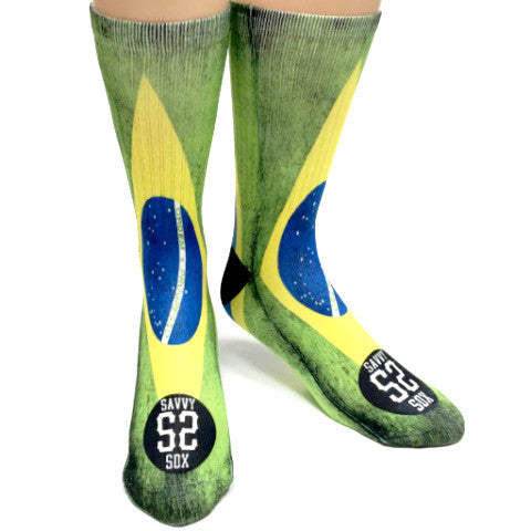 Brazilian Flag Printed Socks - SavvySox - 1