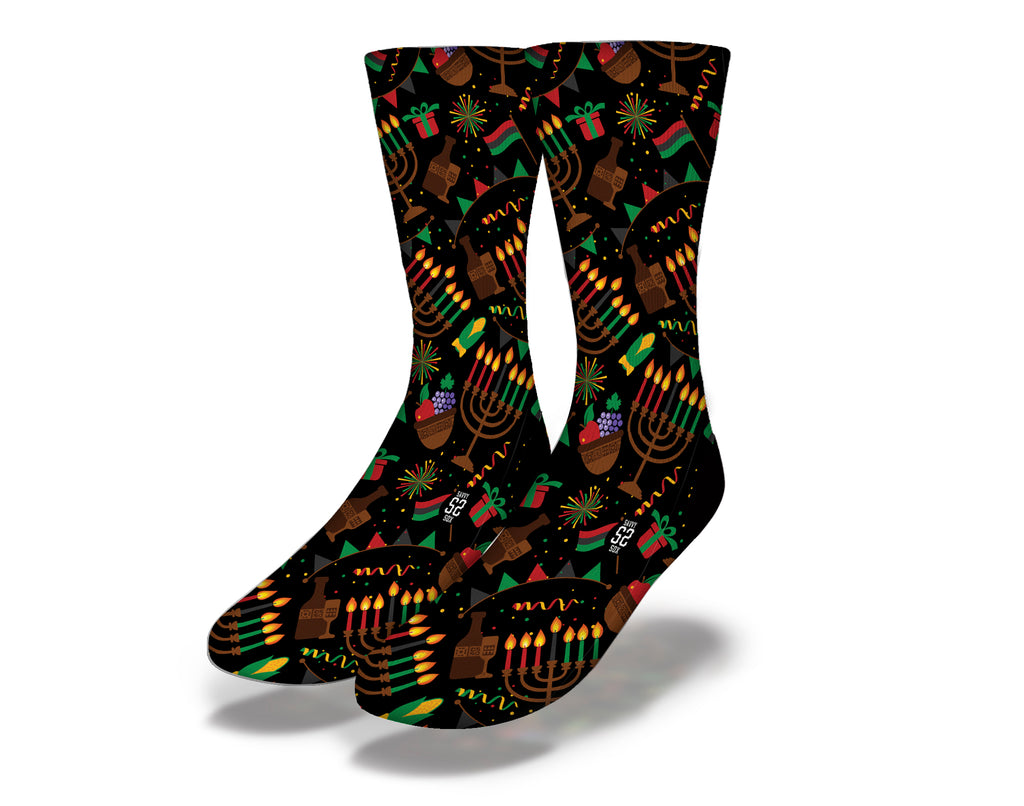 Happy Kwanzaa Holiday Black Icon Socks