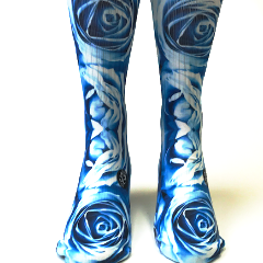 Valentine's Day Abstract Blue Roses Socks - SavvySox