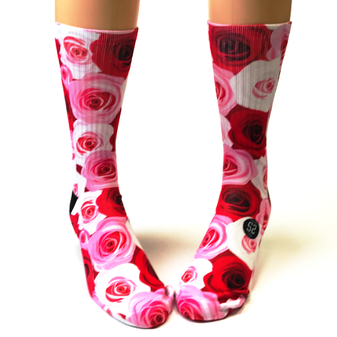 Valentine's Day Red and Pink Roses Socks - SavvySox
