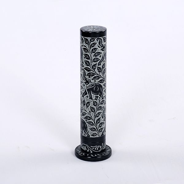Incense Tower Black Soapstone - Elephant