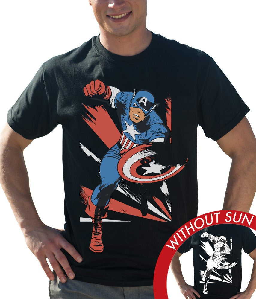 Marvel Men's Classic Crew Tee - Captain America Shadows