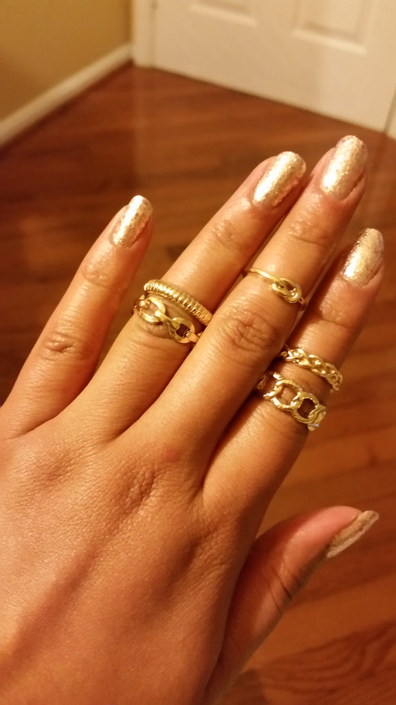 Love Knot and Chains Midi Ring Set