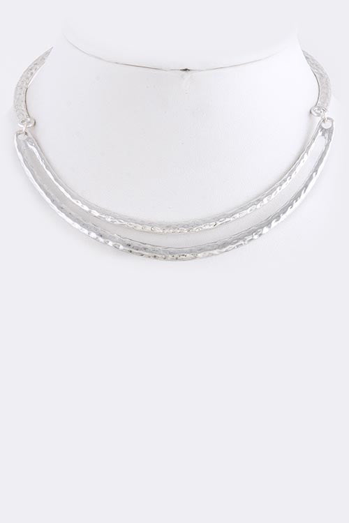Hammered Silver Bib Necklace