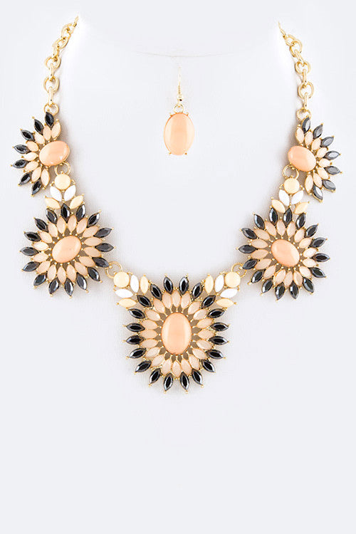 Crystal Flowers  Necklace Set