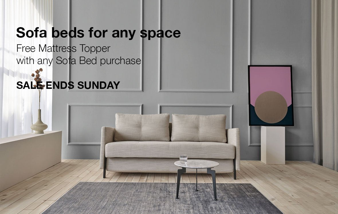 sofa beds for small spaces. Stretch sofa bed. Free mattress topper with purchase. Sale ends sunday