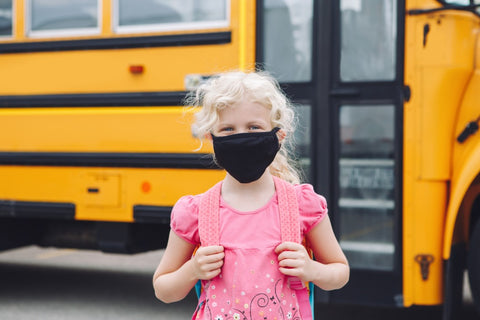 Child wearing a face mask.