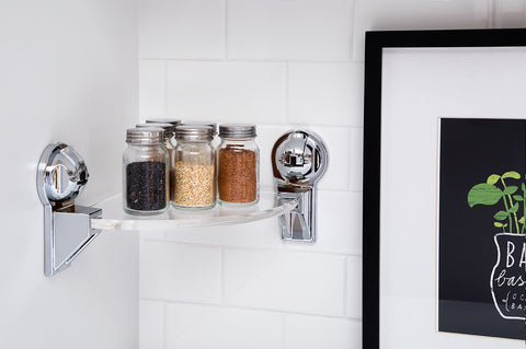 acrylic corner rack chrome suction kitchen spice shelf