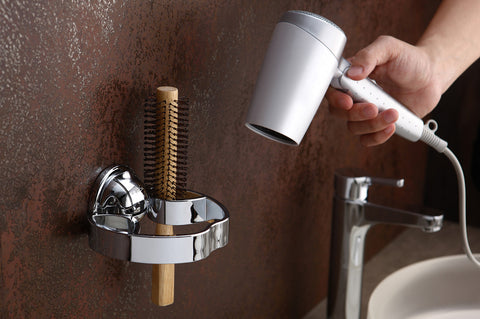 compact hair dryer brush holde chrome suction mount wall bath