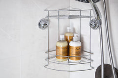 double tier corner shower caddy suction storage bath tile