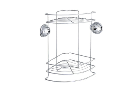 double tier corner shower caddy suction storage water draining