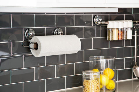 paper towel holder suction tile horizontal kitchen