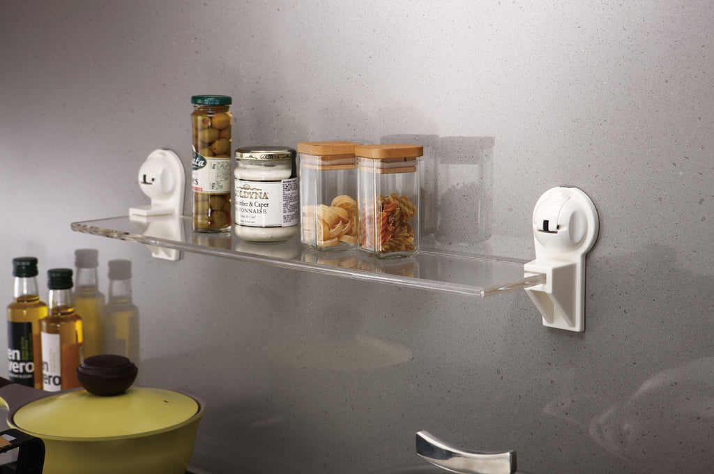 rectangular acrylic shelf white suction kitchen jar storage