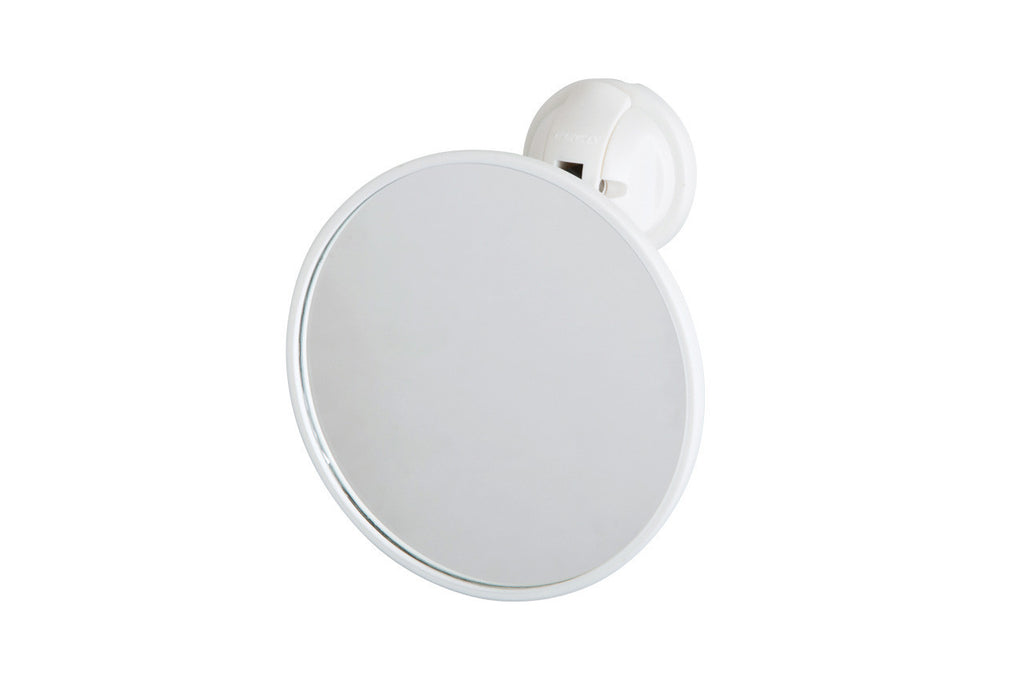 round mirror white suction adjustable angle