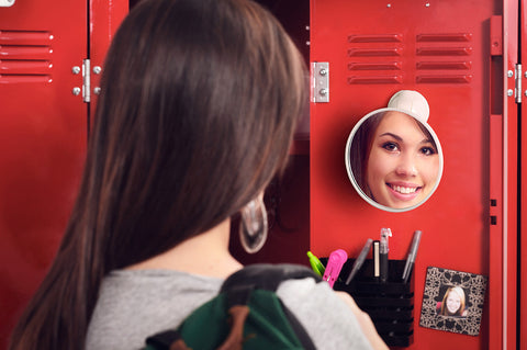 round mirror white suction school locker makeup