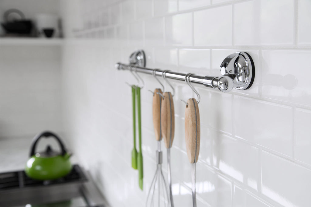 signature kitchen utensil rack hanger hooks chrome suction tile storage