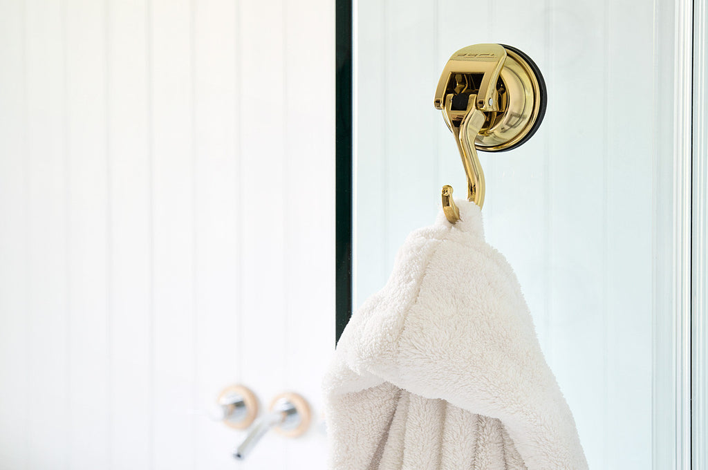 signature stainless steel suction hook gold color hanging towel glass