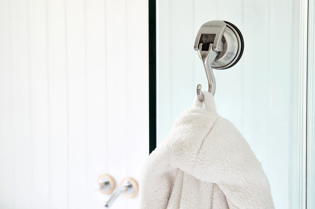 signature stainless steel suction hook matte nickel hanging towel shower