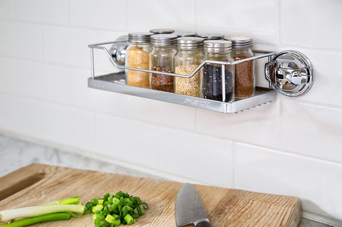 stainless steel rack chrome suction kitchen shelf